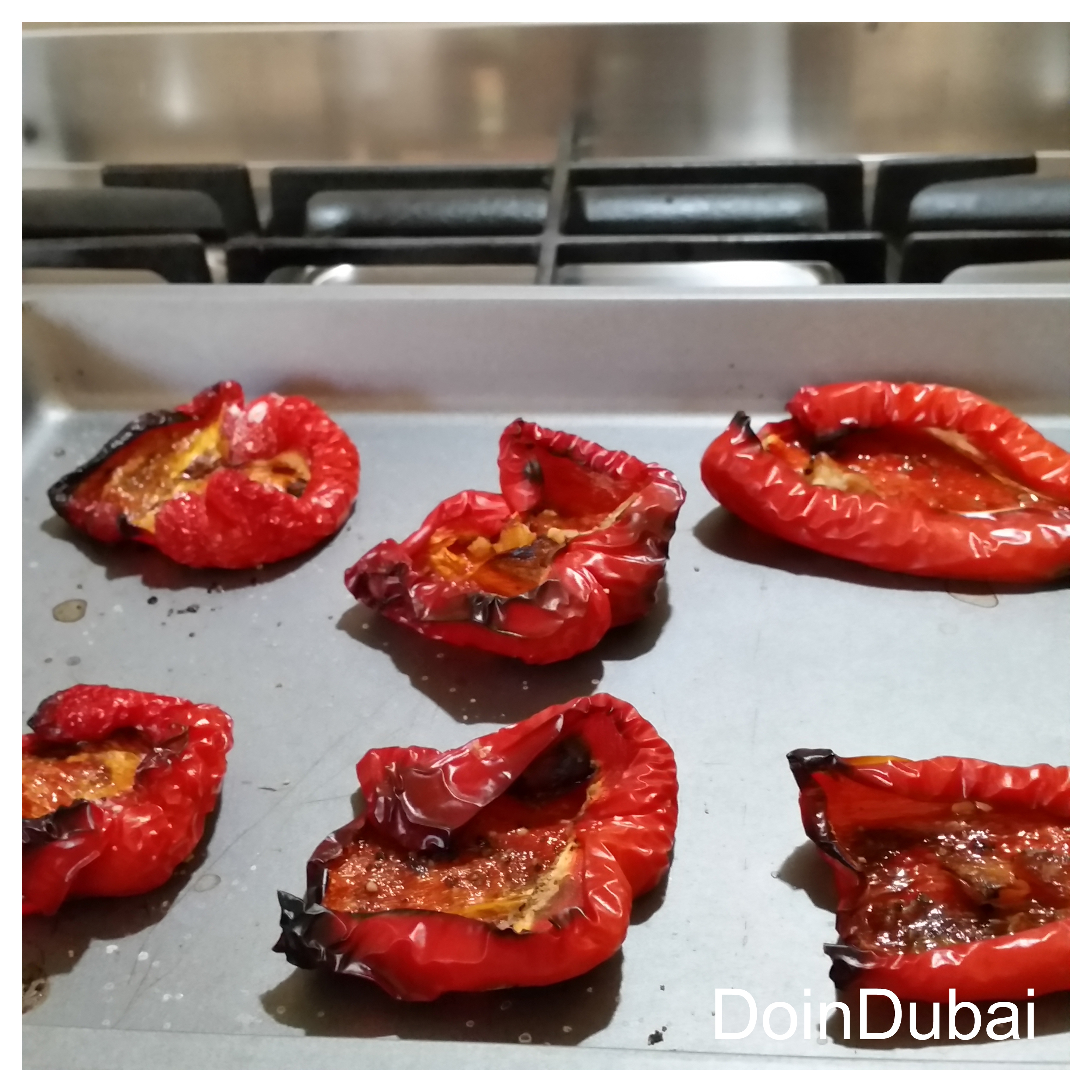 Cook peppers until charred not burnt