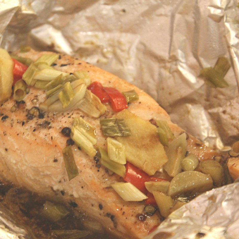 Salmon cooked in Multi Cooker