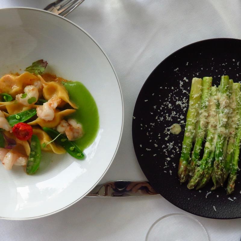 Address Boulevard hotel Dubai DoinDubai Shrimp ravioli and asparagus