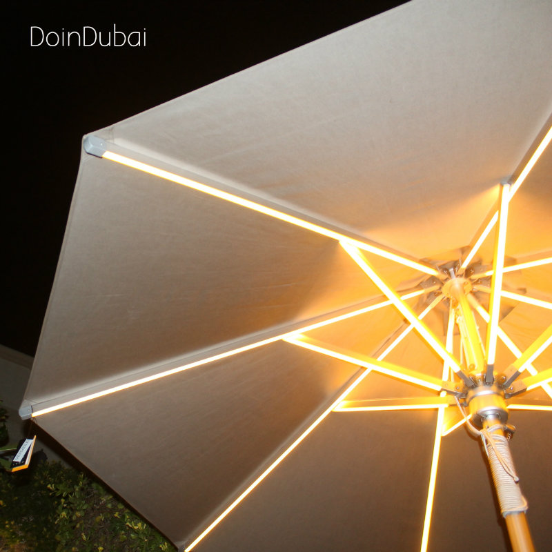 Illuminated Parasol DoinDubai Beige colour Close up lit up inside