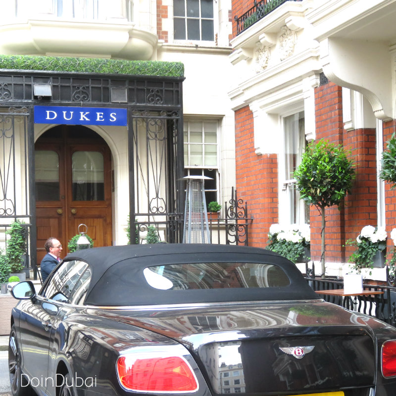 London's Best Cafes Dukes entrance with Bentley