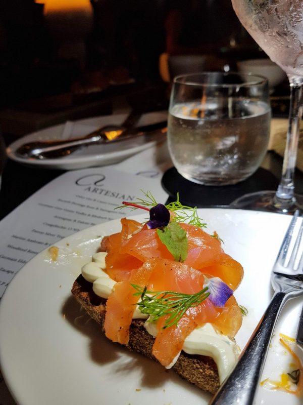 The Artesian Bar at the Langham DoinDubai Cured salmon on pumpernikel bread