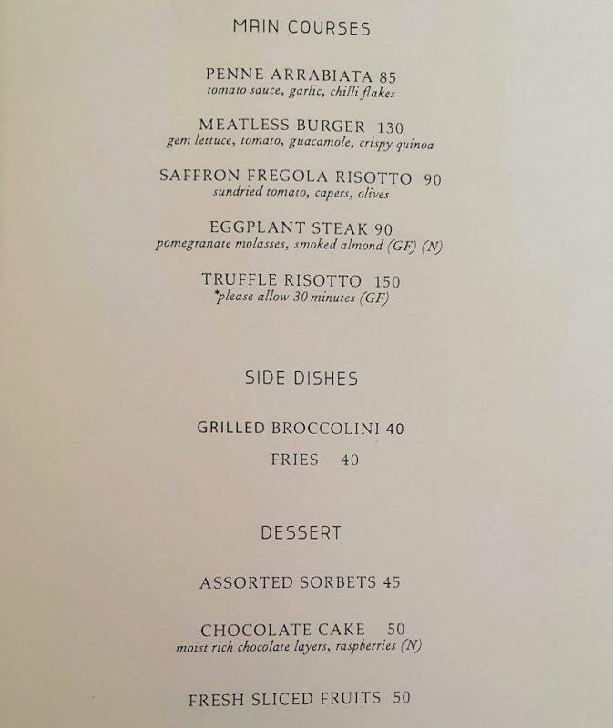 Four Seasons Hotel DIFC Monica Kapila Vegan menu